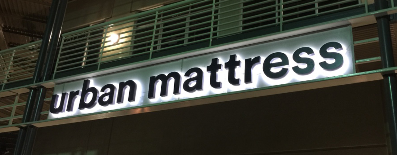 Urban Mattress San Antonio Reverse Channel Letter Sign
