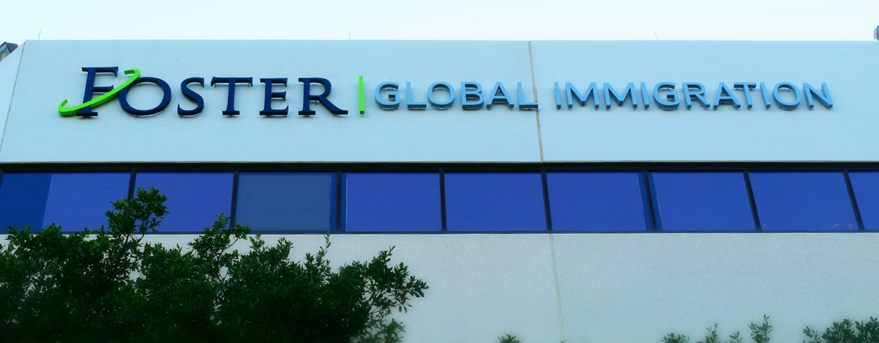 Foster Global Immigration Austin Reverse Channel Letter Sign