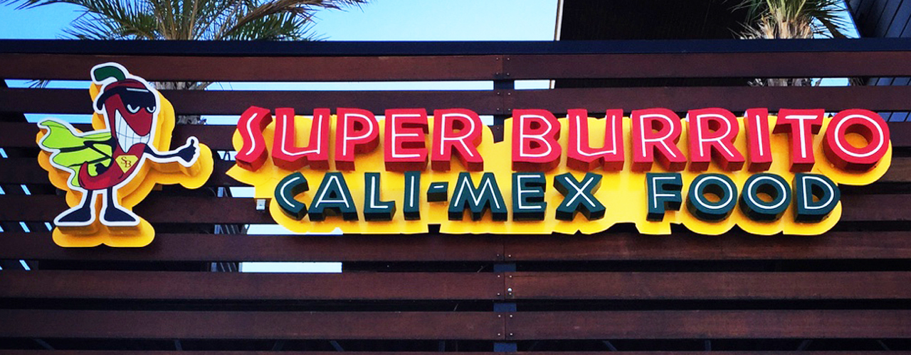 Super Burrito San Marcos Reverse Channel Letter Sign