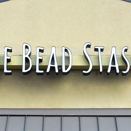 The Bead Stash Front Lit Channel Letter Sign Austin, Texas