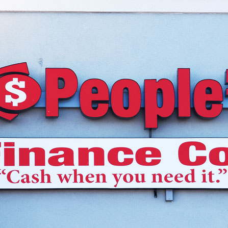 People's Finance Front Lit Channel Letter Sign Bastrop, Texas